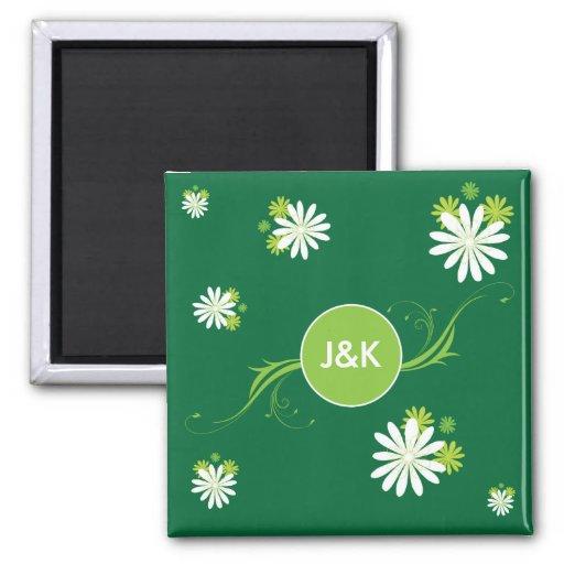 Monogram Green leafs and flowers Fridge Magnets