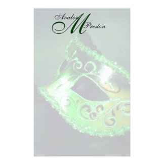 Monogram Green Masquerade Wedding Stationery