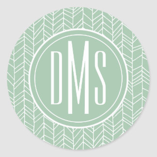 Monogram | Green Pastel Design Classic Round Sticker