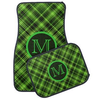 Monogram Green Plaid Floor Mats Car Liners