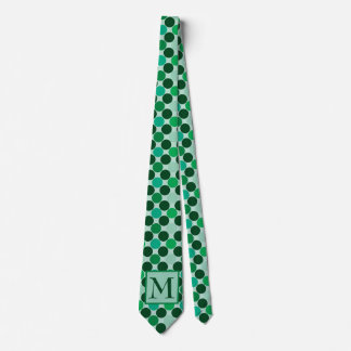 Monogram Green Polka dot tie