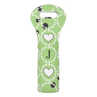 Monogram Green Polka Dots and Hearts Wine Bag