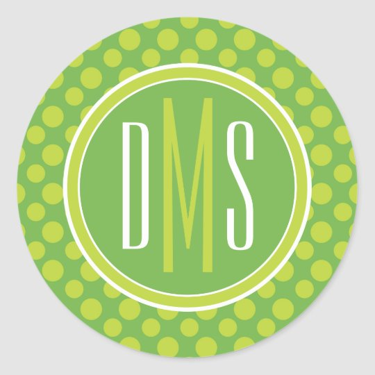 Monogram | Green Polka Dots Classic Round Sticker