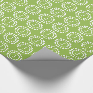 Monogram Green SMALLER Pattern Wrapping Paper