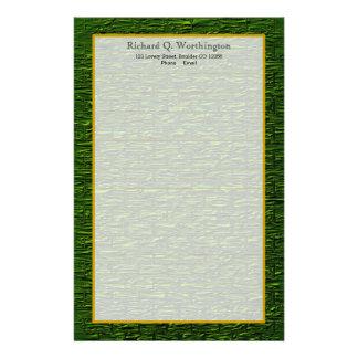 Monogram Green Steel Brick Fine Lined Stationery