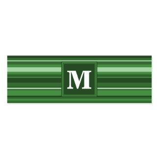 Monogram green stripes mini business card