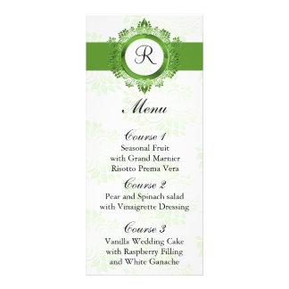 monogram green wedding menu customized rack card