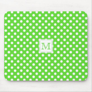 Monogram: Green & White Polka-Dot Mousepad