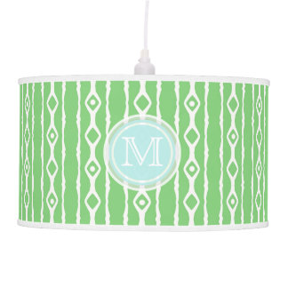 Monogram: Green White Stripes Lamp