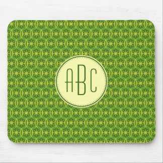 Monogram green yellow bicycle wheel pattern mouse pad