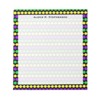 Monogram Green, Yellow, Purple Mardi Gras Beads Notepad