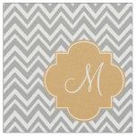 Monogram Grey and White Chevron Pattern with Gold Fabric