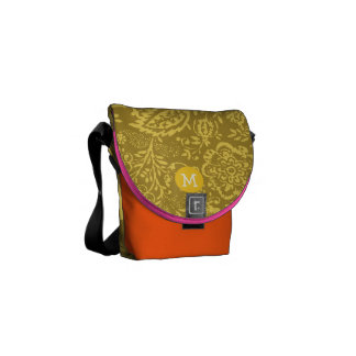 Monogram Grey and Yellow Vintage Floral Pattern Courier Bag