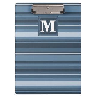 Monogram grey-blue stripes clipboards