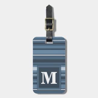 Monogram grey-blue stripes luggage tag
