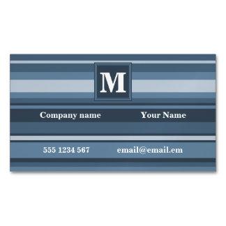 Monogram grey-blue stripes magnetic business card