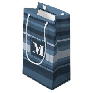Monogram grey-blue stripes small gift bag