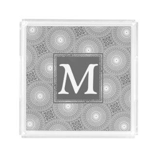 Monogram grey circles pattern acrylic tray