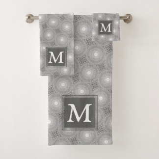 Monogram grey circles pattern bath towel set
