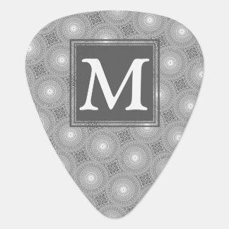 Monogram grey circles pattern guitar pick