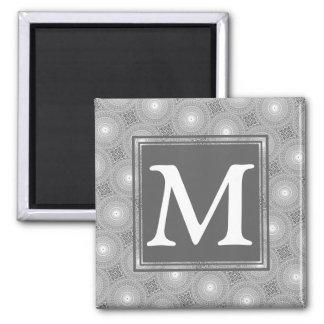 Monogram grey circles pattern magnet