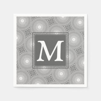 Monogram grey circles pattern paper napkin