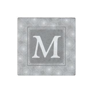Monogram grey circles pattern stone magnets