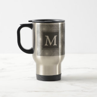 Monogram grey circles pattern travel mug