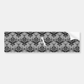 Monogram Grey damask Bumper Sticker