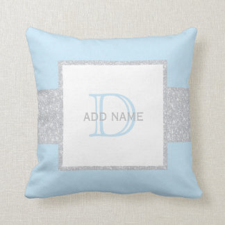 Monogram Grey Faux Glitter Blue Baby Boy Pillow