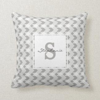 Monogram, grey gingham chevron, personalize w name throw pillow