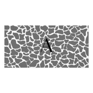 Monogram grey giraffe print photo cards