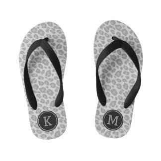 Monogram Grey Leopard Print Childrens Flip Flops