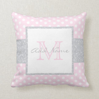 Monogram Grey Pink Polka Dot Baby Girl Pillow