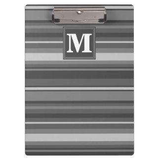 Monogram grey stripes clipboards