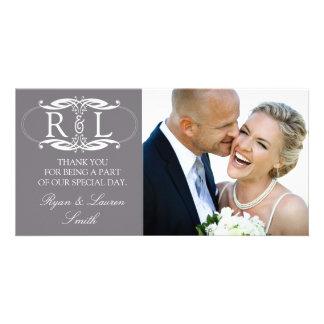 Monogram Grey Wedding Photo Thank You Cards Photo Greeting Card