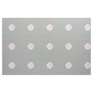 Monogram Grey, White and Pastel Pink Polka Dot Fabric