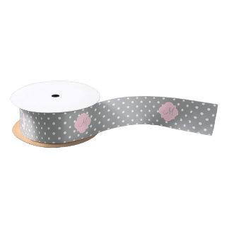 Monogram Grey, White and Pastel Pink Polka Dot Satin Ribbon
