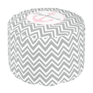 Monogram Grey, White, Pastel Pink Chevron Nautical Pouf