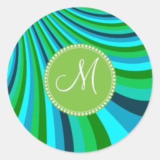Monogram Groovy Blue Green Rainbow Slide Stripes Round Sticker