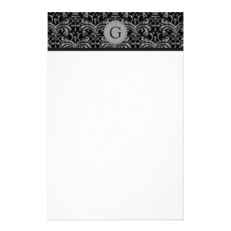 Monogram Grunge Damask Stationery