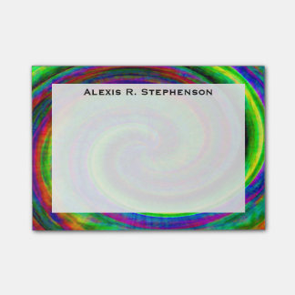 Monogram Grunge Modern Spiral Rainbow Tie Dye Post-it Notes