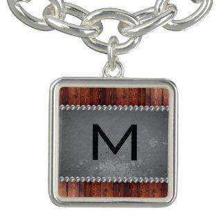 Monogram Grunge Wood Pearls Charm Bracelet
