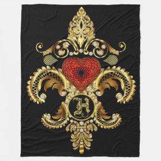Monogram H CUSTOMIZE To Change Background Color Fleece Blanket