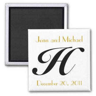 Monogram H Gold & Black Wedding Announcement Square Magnet