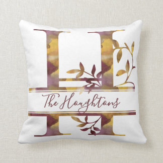 Monogram H - Watercolor - Personalized Throw Pillow