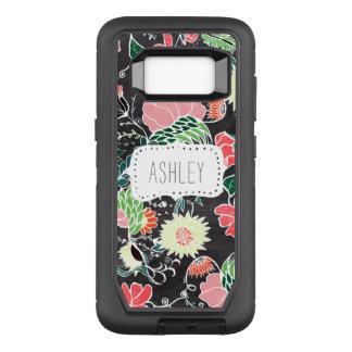 Monogram hand drawn floral pattern chalkboard OtterBox defender samsung galaxy s8 case