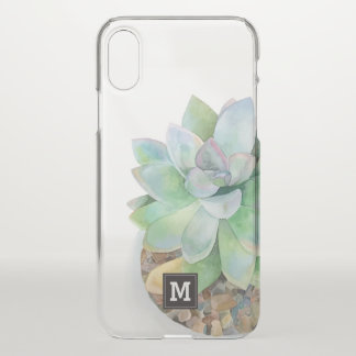 Monogram. Hand Drawn Watercolor Succulent. iPhone X Case