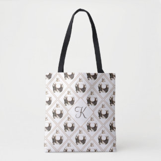 Monogram Happy Laughing Good Luck Buddha Pattern Tote Bag