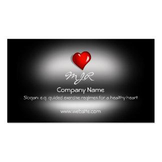 Monogram, Healthy Heart Fitness, metallic-effect Business Card